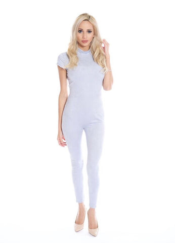 Bridgette powder blue suede jumpsuit