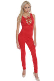 Judy Red suede jumpsuit