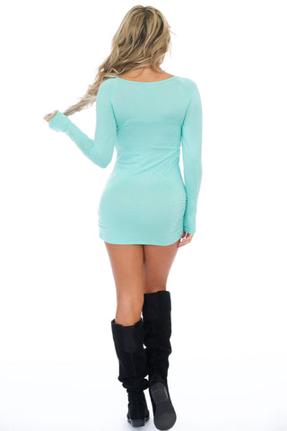 Mint long sleeve dress