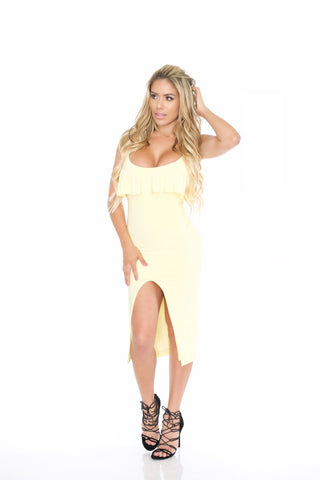 Gia Yellow Midi dress