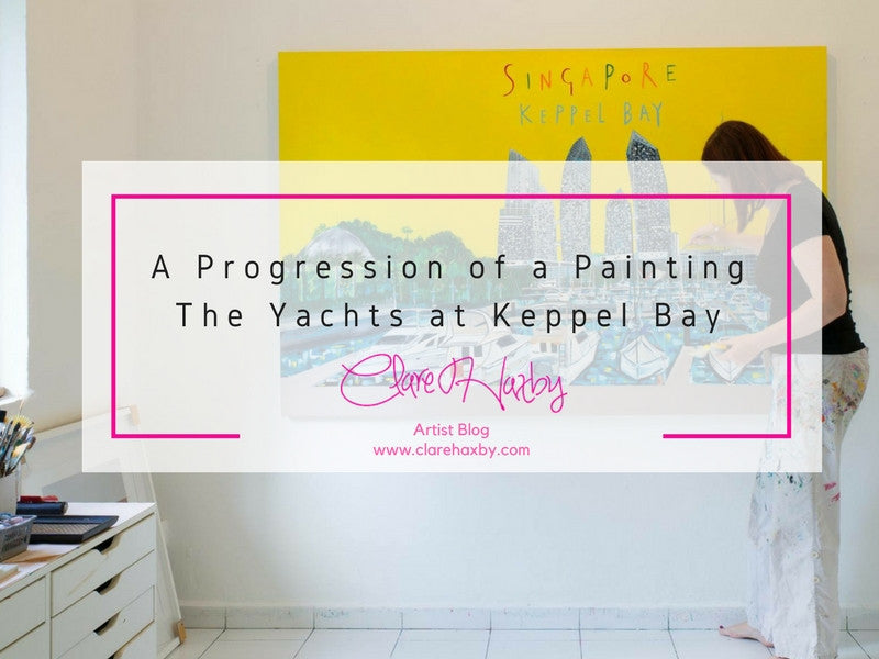 A Progression Of A Painting The Yachts at keppel Bay