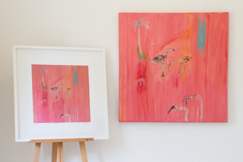Clare Haxby Flamingo Art Painting and print