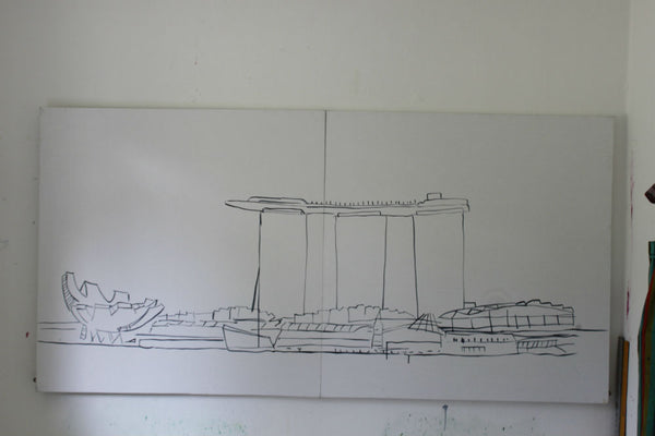 Marina Bay Sands Painting Sketch Clare Haxby