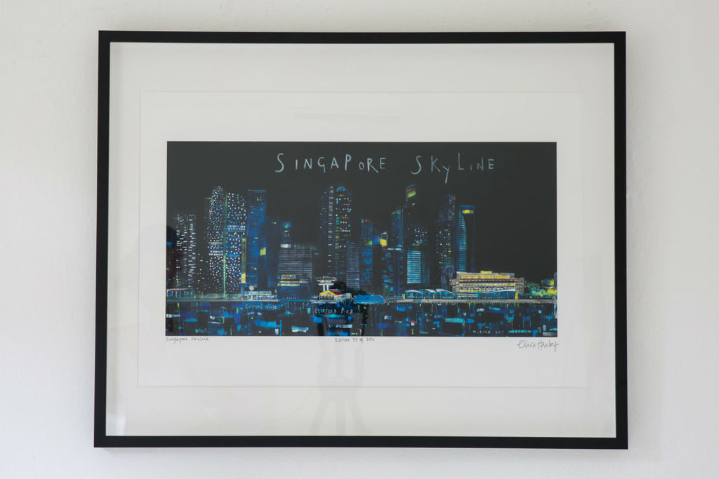 Singapore Skyline Art Print by Clare Haxby