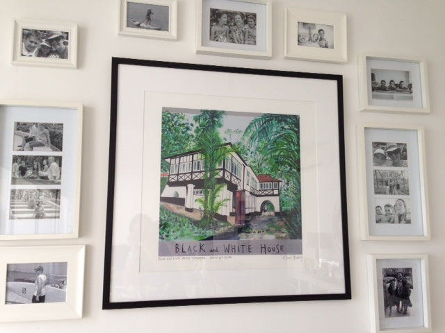 Clare Haxby Black And White House Print