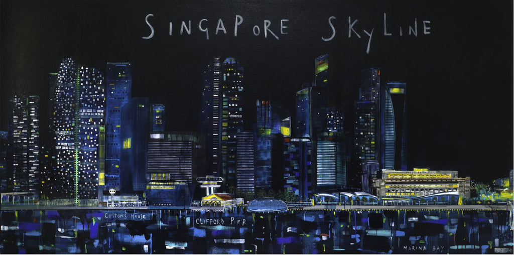 Singapore Skyline Art By Clare Haxby