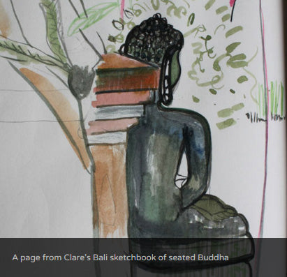 A page from Clare's Bali sketchbook of seated Buddha