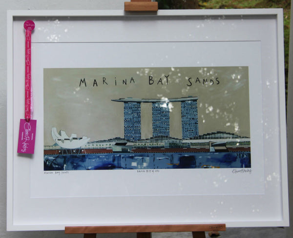 Marina Bay Sands White Framed Print Clare Haxby