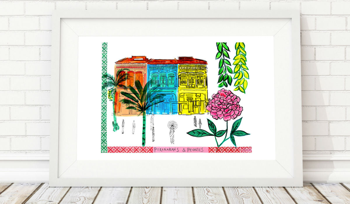Peranakan and Peonies at the Joo Chiat Shophouses by Clare Haxby Artist