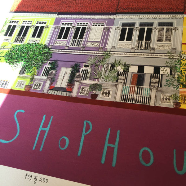 Singapore Shophouse Print by Clare Haxby