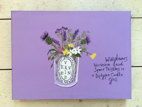 #ClareHaxbyFlowers 72 - Wildflowers, Verveine and Spear Thistles in a Diptyque Candle Glass COMMISSION