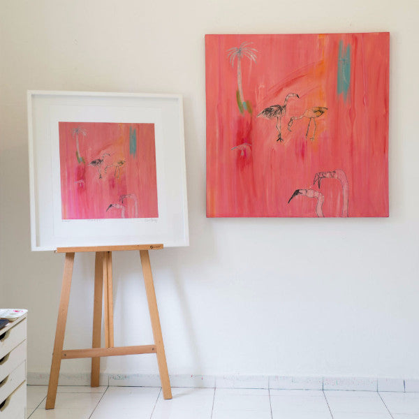 Flamingo Painting by Clare Haxby