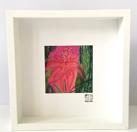 Pink Torch Gingerlily - Framed Painting