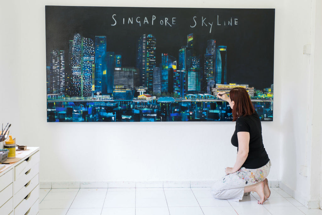 Singapore Skyline Studio Painting By Clare Haxby