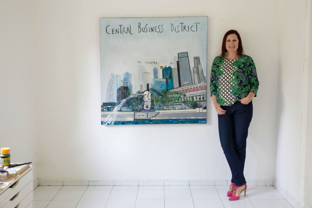 Central Business District Painting by Clare Haxby