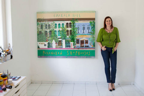 Clare Haxby and Emerald Hill Shophouses Painting