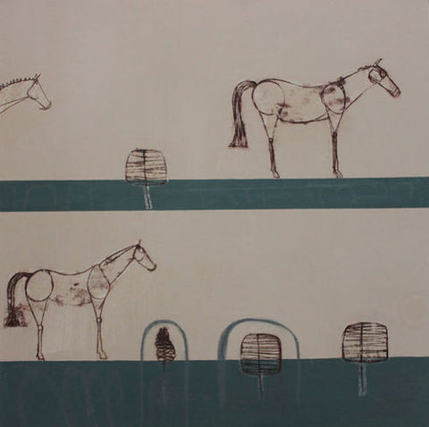 The Waiting Line Equestrian Print by Clare Haxby
