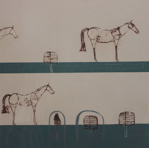 The Waiting Line Equestrian Painting by Clare Haxby
