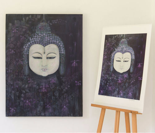 Indigo Orchid Buddha Painting Clare Haxby