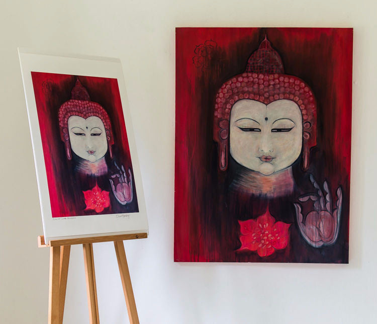 Scarlet Lotus Buddha Painting by Clare Haxby