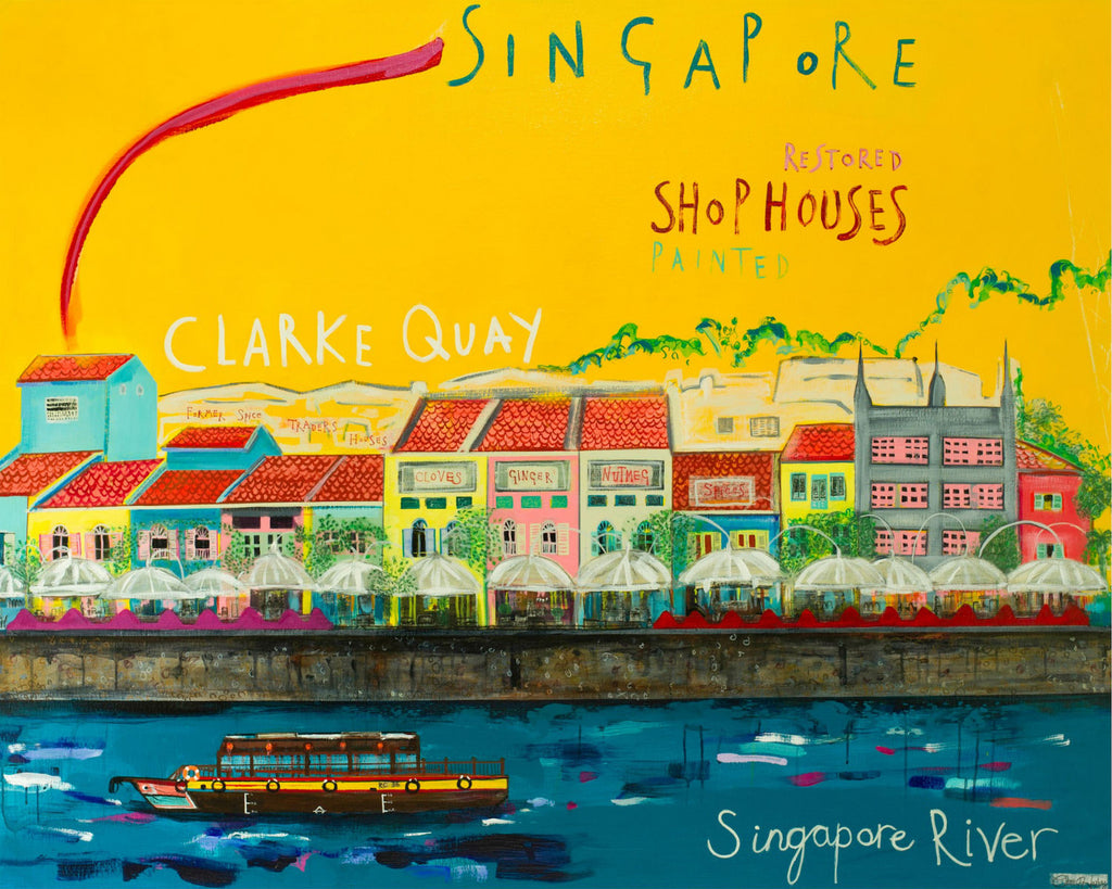 Clarke Quay Shophouses Print by Clare Haxby