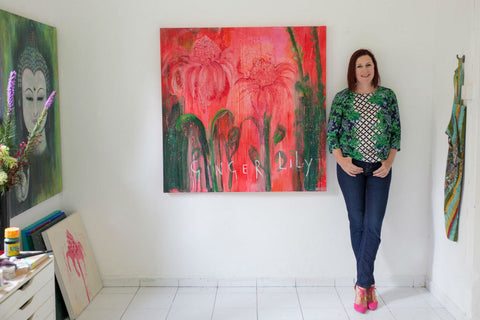 My Beautiful Ginger Lily Painting Studio Shot by Clare Haxby