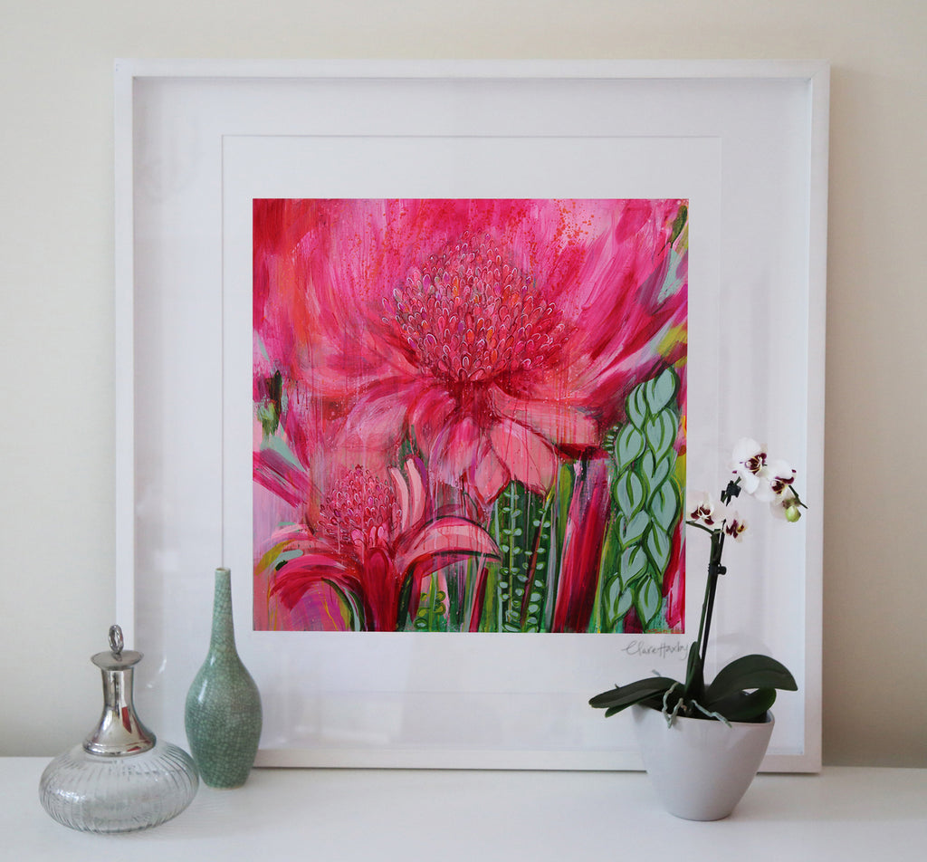Magenta Meet Me At The Ginger Lilies Art Print
