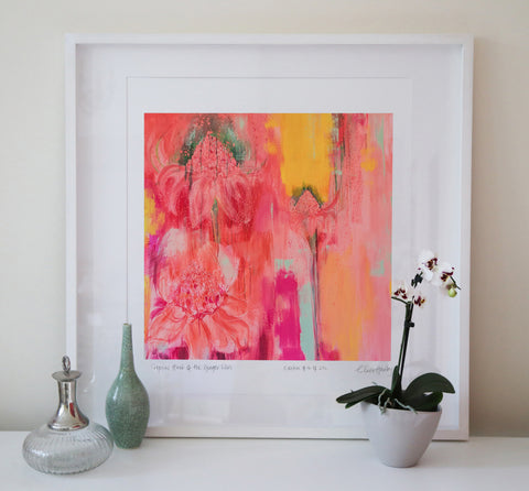 Tropical Heat of the ginger lilies art print Clare Haxby