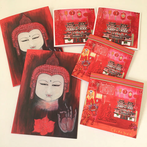 Chinatown Lanterns & Buddhas Greetings Card Set