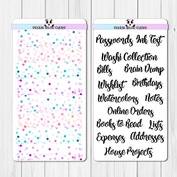 "Hobo Weeks- ""Notes"" Pages Header Stickers- Confetti"