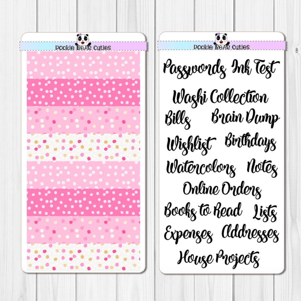 "Hobo Weeks- ""Notes"" Pages Header Stickers- Pink Confetti"