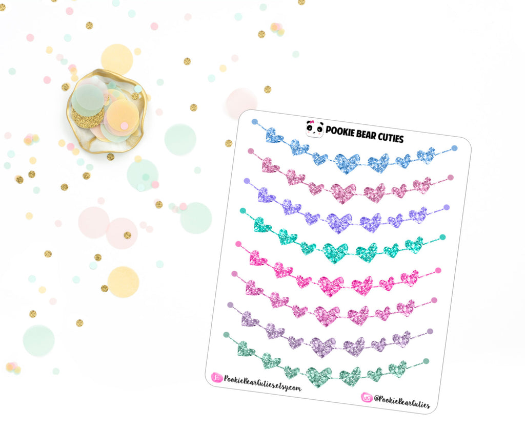 Glitter Heart Banner Stickers