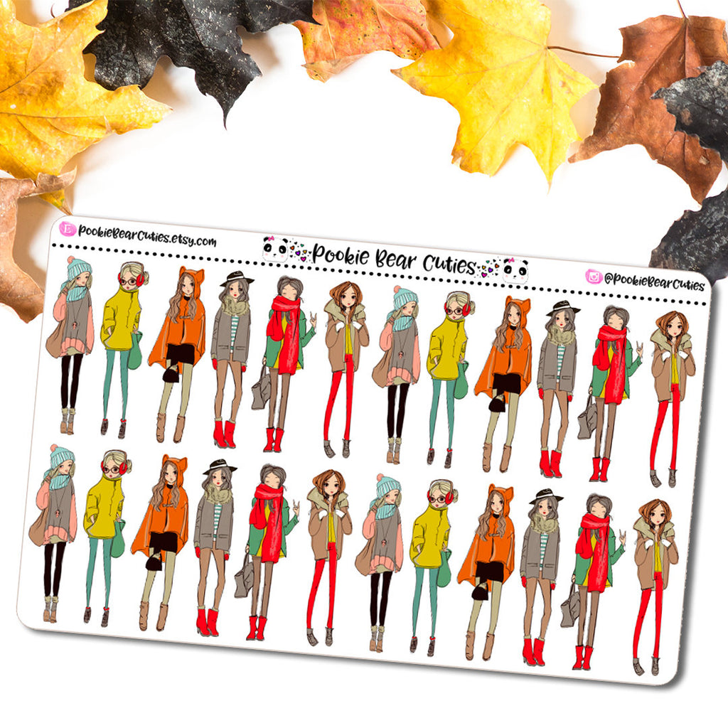 Fall Fashion Girl Stickers