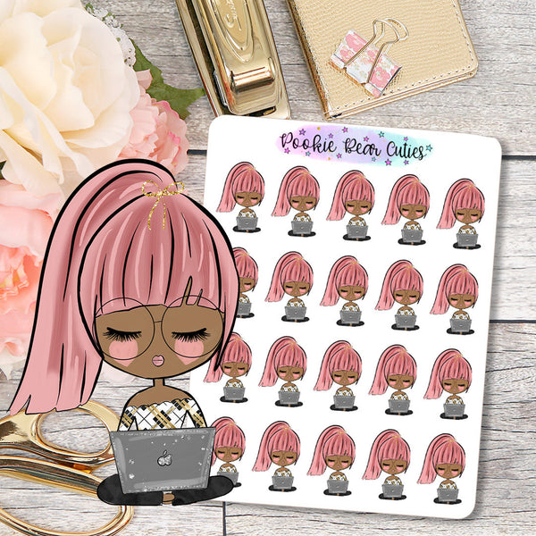 Cute Dolls Girlboss Student Stickers