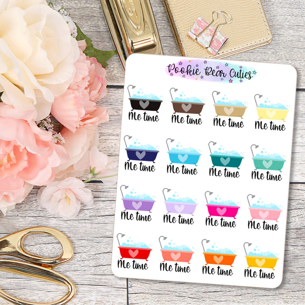 Me Time Bath Pamper Yourself Stickers