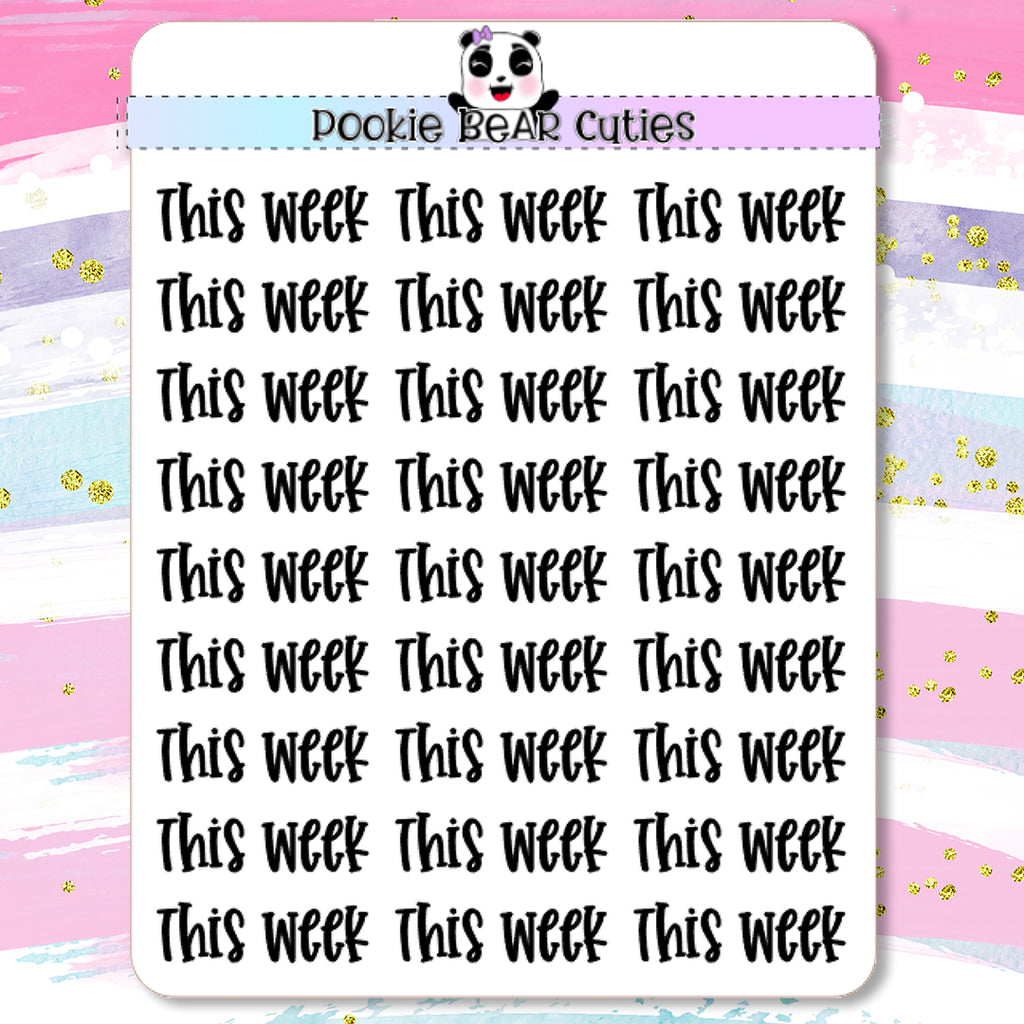 This Week Typography Planner Stickers