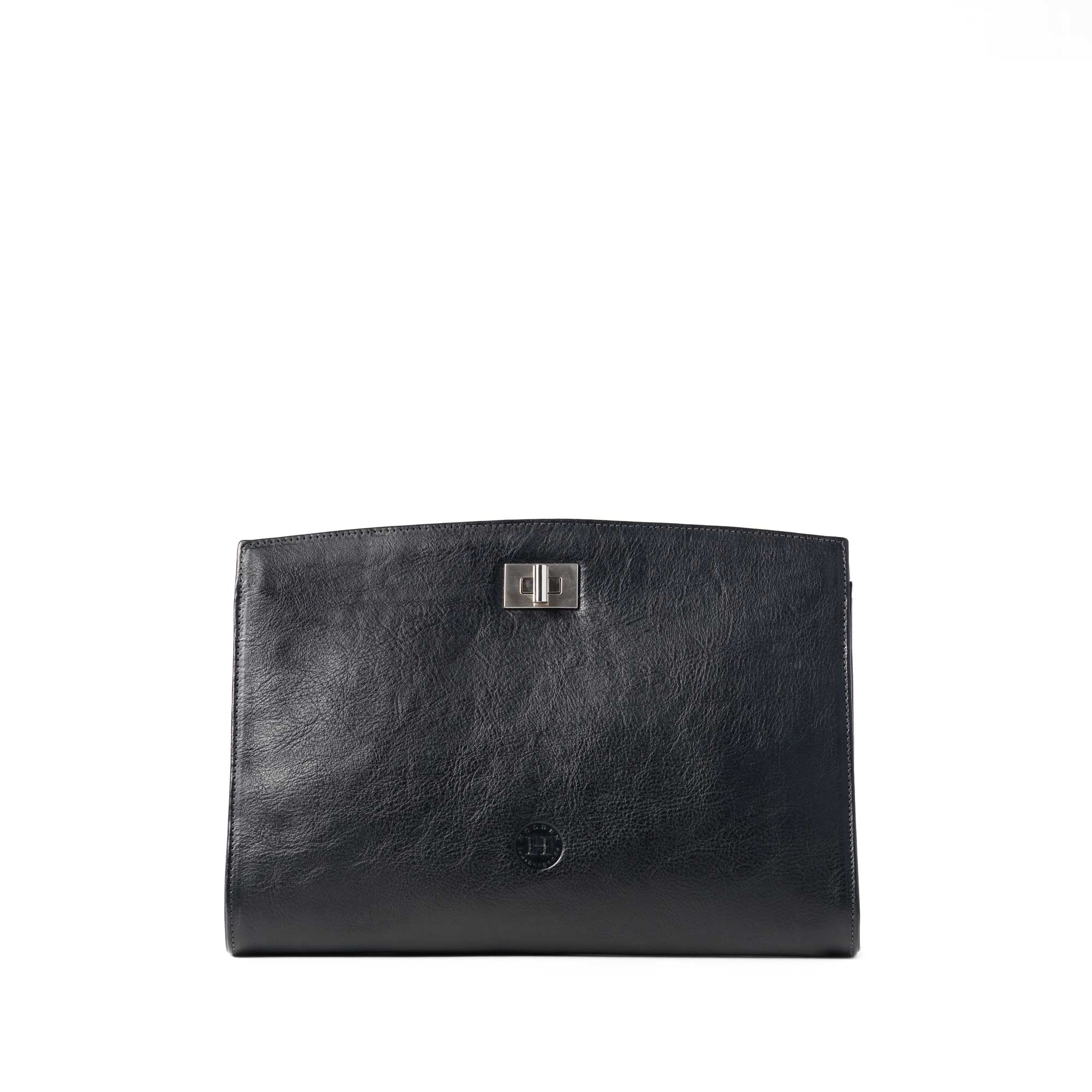 Our Emer Black leather clutch bag