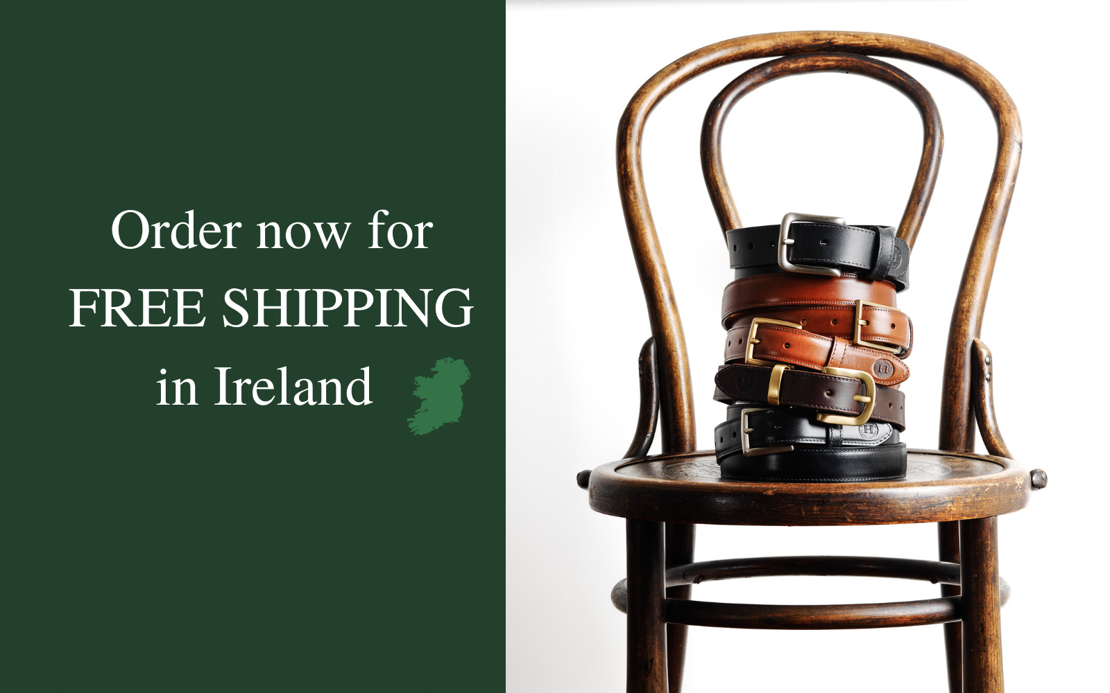 Free shipping Ireland, leather belts, handbags, briefcases, wallets