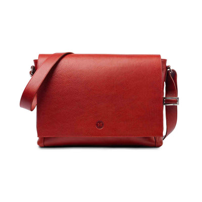 Holden Leather Laptop Messenger Bag Red - Holden Leathergoods, leather bags handmade in Ireland - 1