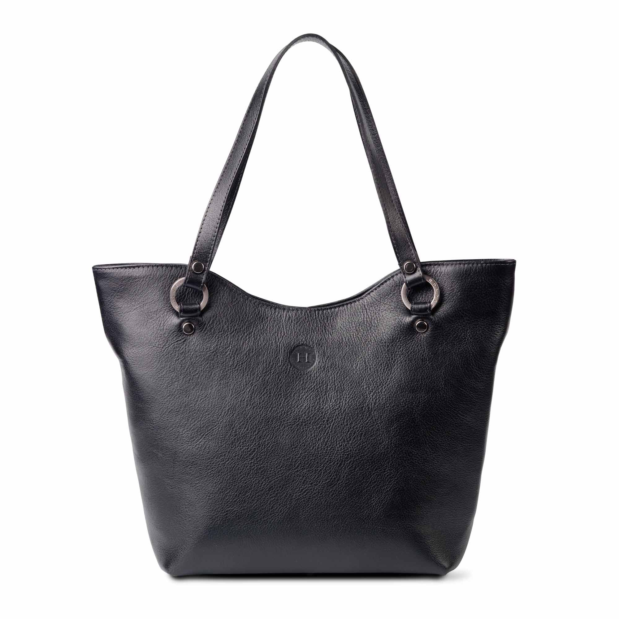 Caitlin Large Leather Tote Black - Holden Leathergoods, leather bags handmade in Ireland