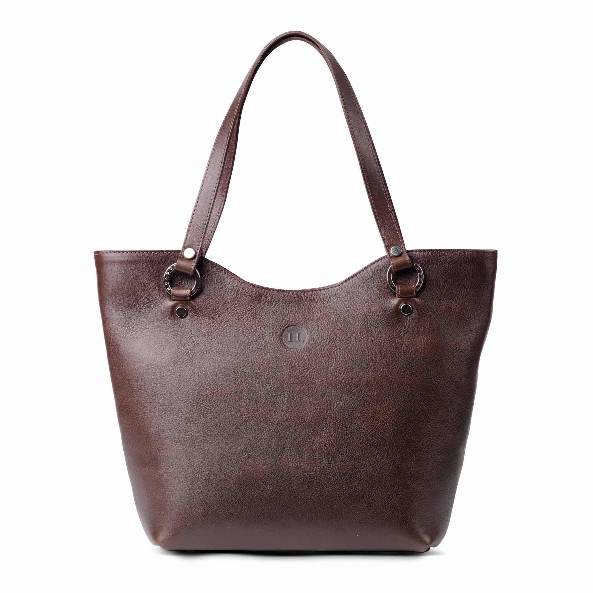 Caitlin Large Leather Tote Brown - Holden Leathergoods, leather bags handmade in Ireland