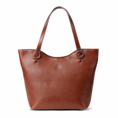 Caitlin Large Leather Tote Chestnut - Holden Leathergoods, leather bags handmade in Ireland