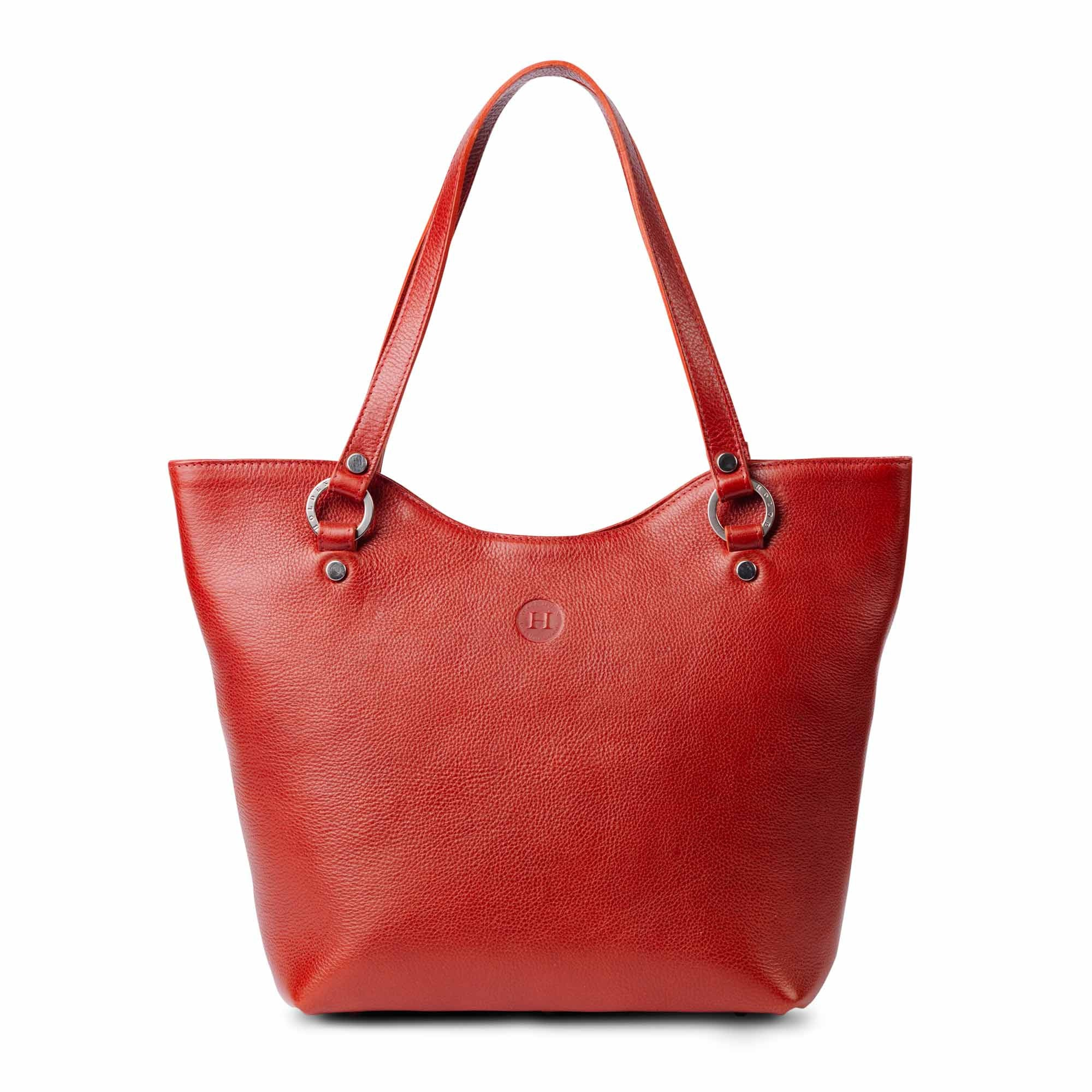 Caitlin Large Leather Tote Red - Holden Leathergoods, leather bags handmade in Ireland