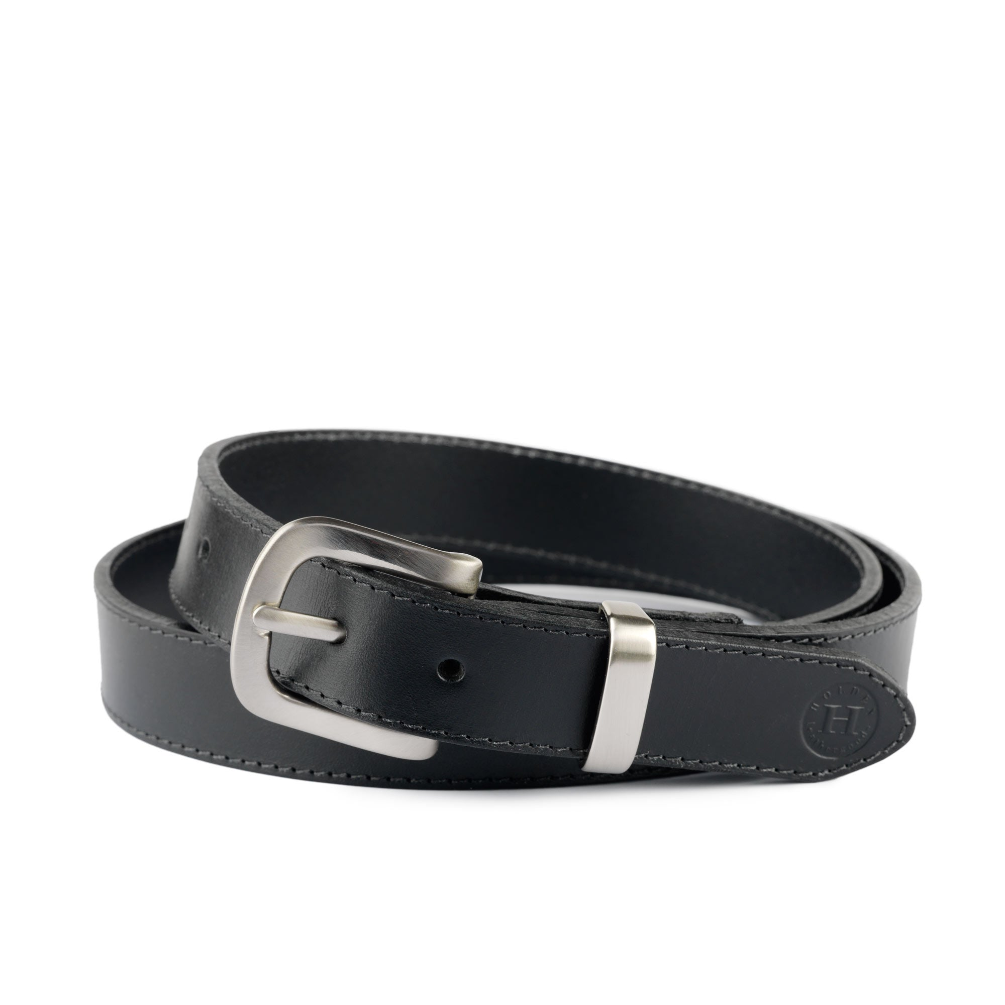 Holden Casual Leather Belt CB1 Black - Holden Leathergoods, leather bags handmade in Ireland