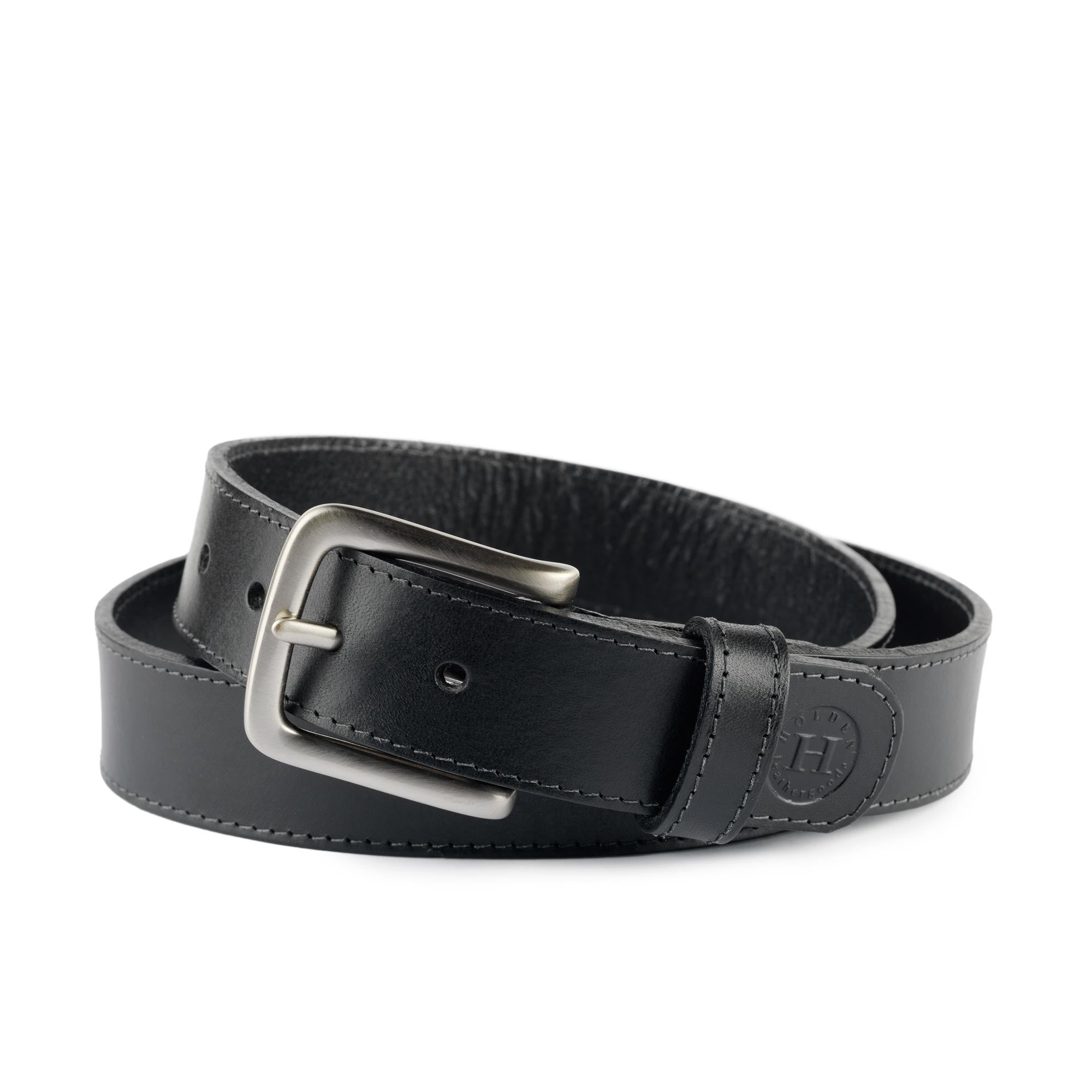 Holden Casual Leather Belt CB2 Black - Holden Leathergoods, leather bags handmade in Ireland
