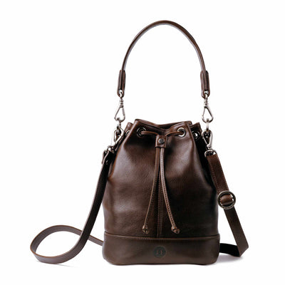 Orla Leather Drawstring Bag Brown - Holden Leathergoods, leather bags handmade in Ireland