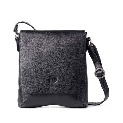 Eithne Large Leather Crossover Bag Black - Holden Leathergoods, leather bags handmade in Ireland