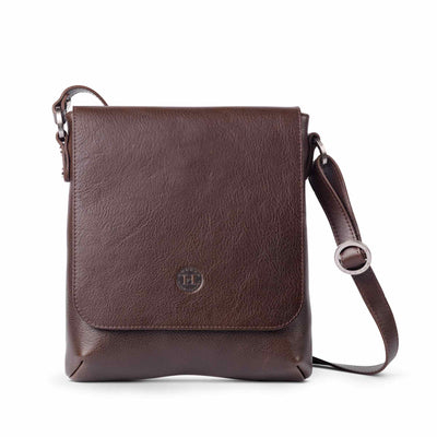 Eithne Large Leather Crossover Bag Brown - Holden Leathergoods, leather bags handmade in Ireland