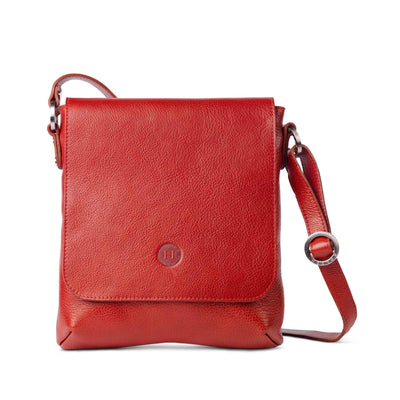 Eithne Large Leather Crossover Bag Red - Holden Leathergoods, leather bags handmade in Ireland