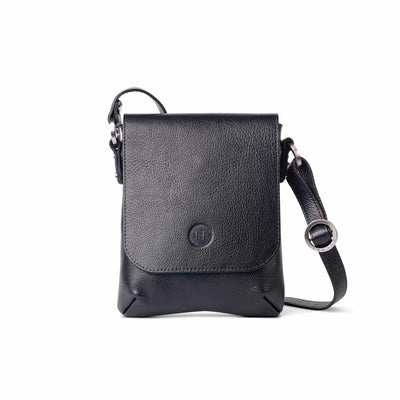 Eithne Medium Leather Crossover Bag Black - Holden Leathergoods, leather bags handmade in Ireland